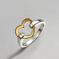 お買い得  指輪-女性用 バンドリング  -  純銀製, ゴールドメッキ ハート, 幸福 ファッション, ステートメント ワンサイズ ゴールド / シルバー 用途 パーティー