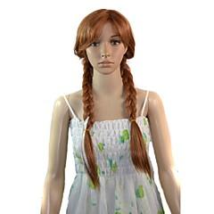 las mujeres de dibujos animados cosplay larga princesa Ana de calor peluca sintética fibra resistente partido peluca de pelo barato