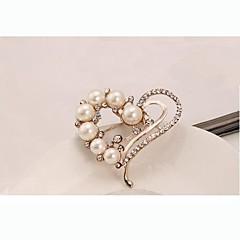 hesapli -Avrupa tarzı moda yapay elmas inci kalp broş