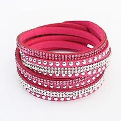 preiswerte Armbänder-Damen Kristall Wickelarmbänder Lederarmbänder - Leder Knopf Europäisch, Modisch Armbänder Grün / Blau / Rosa Für Party