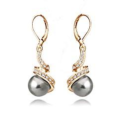 preiswerte Ohrringe-Damen Kristall Tropfen-Ohrringe - Krystall, Künstliche Perle, vergoldet Grundlegend Weiß / Schwarz Für Hochzeit Party Alltag / Graue Perle / Schwarze Perle