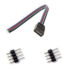 billige LED & Belysning-kvi 4pin fargerike ledet lysene kontakt + 2 x 4pin hannkontakt for rgb 5050/3528 ledet stripe lys koble