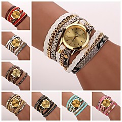 cheap Bracelet Watches-Women's Quartz Bracelet Watch PU Band Casual / Fashion Black / White / Blue / Red / Pink