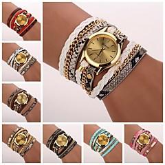 tanie Zegarki damskie-Damskie Kwarcowy Zegarek na bransoletce Matowa czerń PU Pasmo Na co dzień Czarny Biały Niebieski Czerwony Różowy