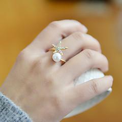 お買い得  指輪-女性用 真珠 / ラインストーン / 合金 バンドリング - オープン / 調整可能 リング 用途 結婚式 / パーティー / 日常