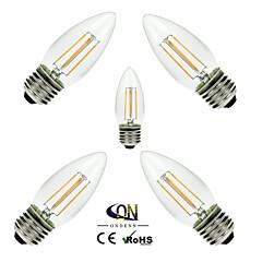 お買い得  LED 電球-ONDENN 5個 2800-3200 lm E26/E27 フィラメントタイプLED電球 C35 4 LEDの COB 調光可能 温白色 AC 110〜130V AC 220-240V