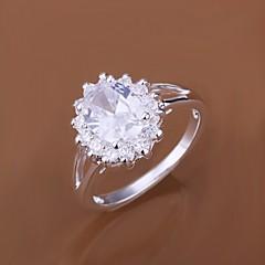 お買い得  指輪-女性用 ステートメントリング  -  ジルコン, キュービックジルコニア, 銀メッキ ぜいたく 7 / 8 用途 結婚式 パーティー 日常
