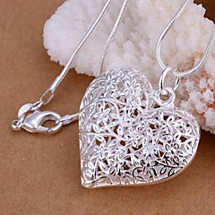 Women's Pendant Necklaces Heart Silver Plated Love Heart Fashion Costume Jewelry Jewelry For Wedding Party Daily Casual