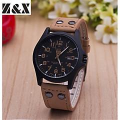 お買い得  メンズ腕時計-男性用 軍用腕時計 クォーツ カレンダー レザー バンド ハンズ チャーム ブラウン - ライトブラウン ダークブラウン