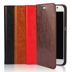 olcso Galaxy S6 tokok-Mert Samsung Galaxy tok tokok Pénztárca Kártyatartó Állvánnyal Flip Teljes védelem Case Egyszínű Puha Valódi bőr mert SamsungS8 S8 Plus