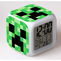 abordables otra novedad-7 cambio de color despertador digital llevado termómetro nigh juguetes de colores brillantes