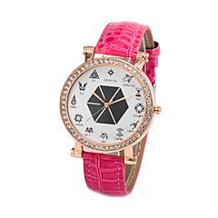 Жен. Модные часы Кварцевый Кожа Группа Мультфильмы Блестящие Черный Белый Красный Фиолетовый Роуз