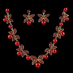お買い得  ジュエリーセット-女性用 ジュエリーセット  -  真珠 含める ホワイト / レッド 用途 結婚式 / イヤリング・ピアス / ネックレス