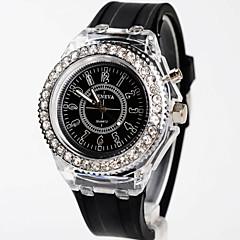 お買い得  大特価腕時計-女性用 ファッションウォッチ / カジュアルウォッチ 日本産 光る シリコーン バンド チャーム ブラック / 白