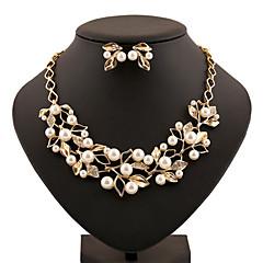 abordables Collares de perlas-Perla Conjunto de joyas - Brillante Vintage, Fiesta, Trabajo Incluir Dorado / Plata Para / Pendientes / Collare