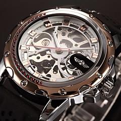 お買い得  大特価腕時計-WINNER 男性用 リストウォッチ / 機械式時計 透かし加工 シリコーン バンド ぜいたく ブラック / 自動巻き