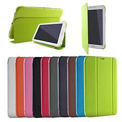Недорогие Чехлы и кейсы для Galaxy Tab 3 Lite-Кейс для Назначение SSamsung Galaxy Кейс для  Samsung Galaxy со стендом Флип Оригами Сплошной цвет для