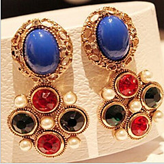 preiswerte Ohrringe-Damen Kubikzirkonia Tropfen-Ohrringe - Kubikzirkonia, vergoldet Retro, Modisch Farbbildschirm Für Alltag
