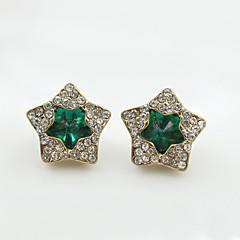 tanie Kolczyki-Kolczyki na sztyft Kryształ Modny Europejski Kryształ górski Pozłacane 18K złoty sztuczna Diament Austria Crystal Black Green Niebieski