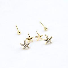 Серьги-гвоздики Кристалл Стразы Позолота 18K золото Имитация Алмазный Мода Золотой Бижутерия 2 шт.