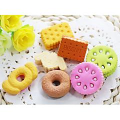 저렴한 -만화 donnut 비스킷 디저트 고무 지우개 (임의의 색상을) 조립