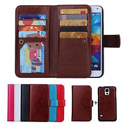 olcso Galaxy S6 Edge tokok-Case Kompatibilitás Samsung Galaxy Samsung Galaxy tok Kártyatartó Pénztárca Flip Héjtok Tömör szín PU bőr mert S6 edge S6 S5 S4