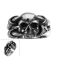 Кольцо Нержавеющая сталь В форме черепа Мода Серебряный Бижутерия Halloween Повседневные Спорт 1шт