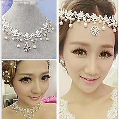 Mujer Gargantillas Strands Collares Perla Tela de Encaje Brillante La imitación de diamante Legierung Joyas Boda Fiesta 1 pieza