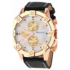 preiswerte Tolle Angebote auf Uhren-JUBAOLI Herrn Quartz Armbanduhr Armbanduhren für den Alltag Leder Band Charme Schwarz