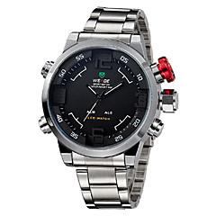 お買い得  メンズ腕時計-WEIDE 男性用 リストウォッチ クォーツ 30 m 耐水 アラーム カレンダー ステンレス バンド アナログ/デジタル チャーム ブラック / シルバー - ブルー シルバーとブラック ホワイト / シルバー 2年 電池寿命 / クロノグラフ付き / 2タイムゾーン / Maxell626 + 2032