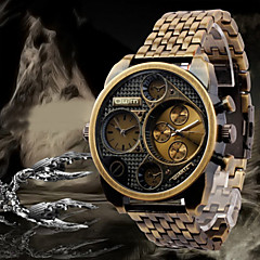 お買い得  大特価腕時計-Oulm リストウォッチ エミッタ 2タイムゾーン ブラック / 青銅色 / ローズゴールド / 2年 / 2年