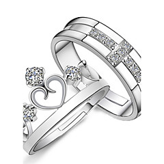 preiswerte Ringe-Damen Eheringe - Sterling Silber, Krystall, Strass Kreuz, Herz, Krone Modisch Verstellbar Silber Für Geschenk Alltag Normal / 2pcs