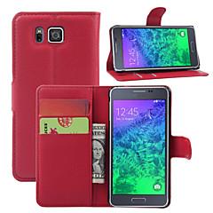 voordelige Galaxy Alpha Hoesjes / covers-Voor Samsung Galaxy hoesje Kaarthouder / Portemonnee / met standaard / Flip hoesje Volledige behuizing hoesje Effen kleur PU-leer Samsung