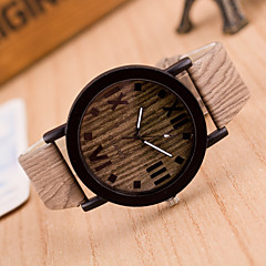 cheap Watch Deals-Women's Quartz Wrist Watch Casual Watch Leather Band Vintage Wood Fashion Brown Khaki