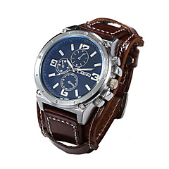 Men Genuine Leather Wide Band Watches Big Size Sports Calendar Fashion Watch Waterproof Vintage Wrist Watch(Assorted Colors) Cool Watch Unique Watch