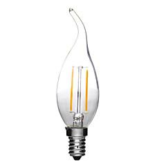 お買い得  LED 電球-1個 2W 180lm E14 フィラメントタイプLED電球 C35L 2 LEDビーズ COB 装飾用 温白色 クールホワイト 220-240V
