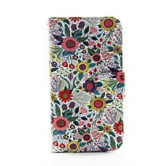 billige Galaxy S3 Etuier-For Samsung Galaxy etui Pung Kortholder Med stativ Flip Etui Heldækkende Etui Blomst Kunstlæder for Samsung S5 S4 S3