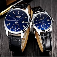 Heren Dames Voor Stel Dress horloge Kwarts Leer Band Luxueus Zwart Wit Koffie Blauw