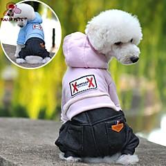 お買い得  犬用ウェア&アクセサリー-犬 パーカー ジャンプスーツ 犬用ウェア ジーンズ ダークブルー ピンク ライトブルー フリース コットン コスチューム ペット用 男性用 女性用 カウボーイ ファッション