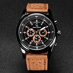 お買い得  メンズ腕時計-V6 男性用 クォーツ 日本産クォーツ リストウォッチ カジュアルウォッチ レザー バンド チャーム ブラック ブラウン カーキ