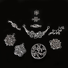 cheap Charms & Pendants-Beadia Antique Silver Metal Flower Charm Pendants Olive Tree Jewelry Connectors DIY Accessories