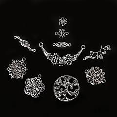 골동품 실버 beadia 금속 꽃의 매력 펜던트 나무 보석 커넥터 DIY 액세서리 올리브