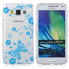billige Galaxy A3 Etuier-For Samsung Galaxy etui Transparent Mønster Etui Bagcover Etui Sommerfugl TPU for Samsung A5 A3