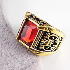 Férfi Női Karikagyűrűk Szerelem Szív Vésett Rozsdamentes acél Arannyal bevont Hamis gyémánt Flower Shape Ékszerek Kompatibilitás Esküvő