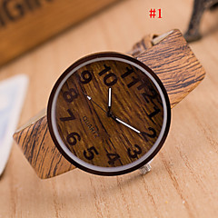 preiswerte Herrenuhren-Herrn Quartz Armbanduhr Armbanduhren für den Alltag PU Band Charme Holz Mehrfarbig