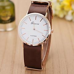 Heren Dames Voor Stel Modieus horloge Kwarts Zwitsers Designer Leer Band Zwart Bruin Zwart Lichtbruin Donker Bruin