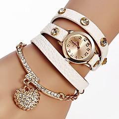 voordelige Armbandhorloges-Dames Modieus horloge Armbandhorloge Kwarts PU Band Glitter Heart Shape Bohémien Zwart Wit Rood Bruin Grijs Kaki