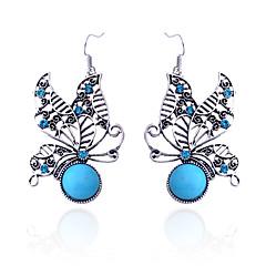 preiswerte Ohrringe-Damen Kristall Tropfen-Ohrringe - Krystall, versilbert, Diamantimitate Schmetterling, Tier Luxus Blau Für Party / Alltag / Normal / Türkis