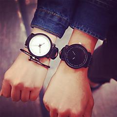 voordelige Horloges voor stelletjes-Heren Dames Voor Stel Modieus horloge Kwarts Leer Band Zwart Wit