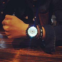 お買い得  メンズ腕時計-男性用 クォーツ ユニークなクリエイティブウォッチ リストウォッチ LED シリコーン バンド チャーム ブラック